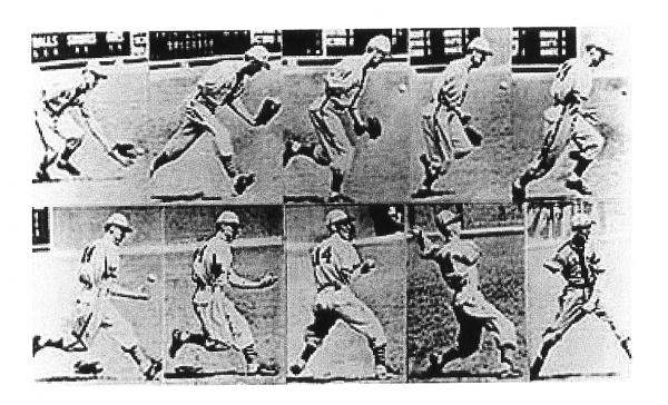 This frame-by-frame black and white series lays out the technique of Pete Gray catching and throwing the baseball.