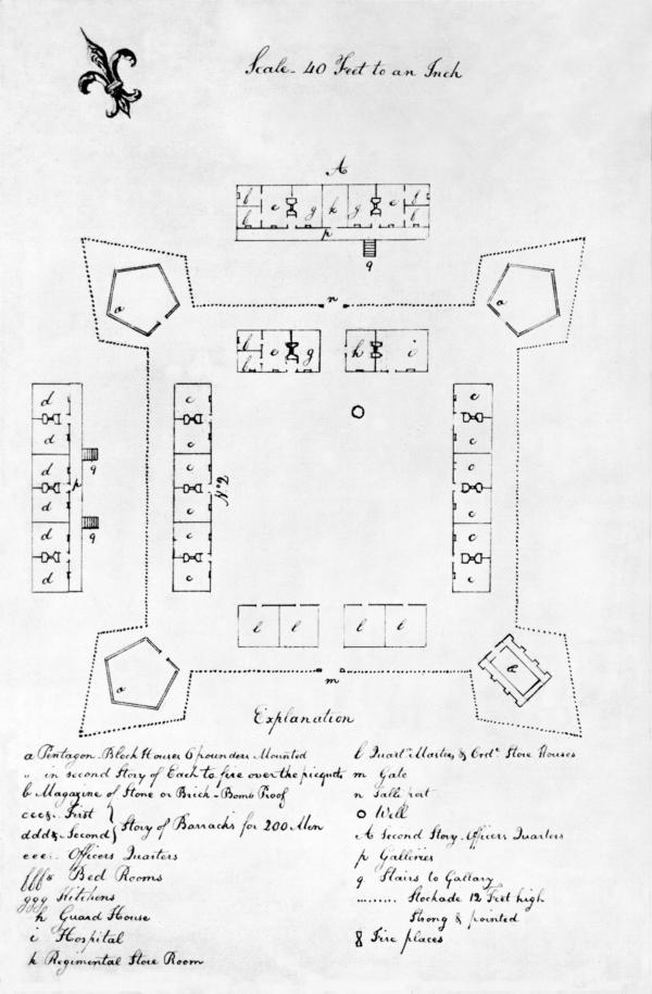 Line drawing of Fort Fayette with detailed listing of buildings. 
