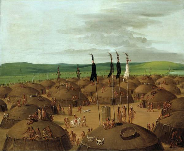 An oil on canvas Bird's eye view of the Mandan Indian Village, 1837-1839.