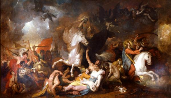 Beautiful oil on canvas painting of Death, depicted as a black cloaked man riding a pale white horse. Preyed upon fallen people are lying on the ground. To the left of the image are warriors battling a lion. And to the right of the image a king rides a white horse.