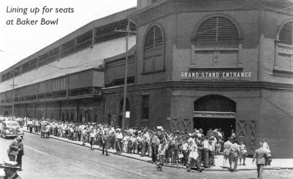 Fans line up outside the gates of the Baker Bowl.