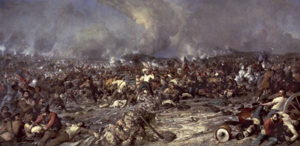 An oil on canvas of an epic Civil War battle scene.