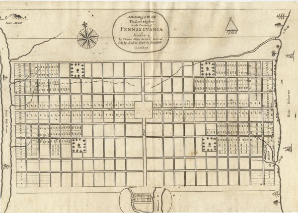 The first map of the City of Philadelphia, created by William Penn's surveyor,