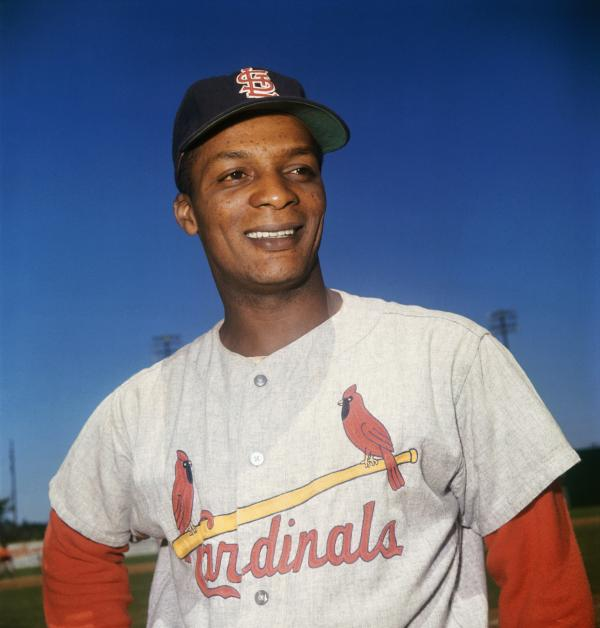 Color photograph of Curt Flood in uniform.