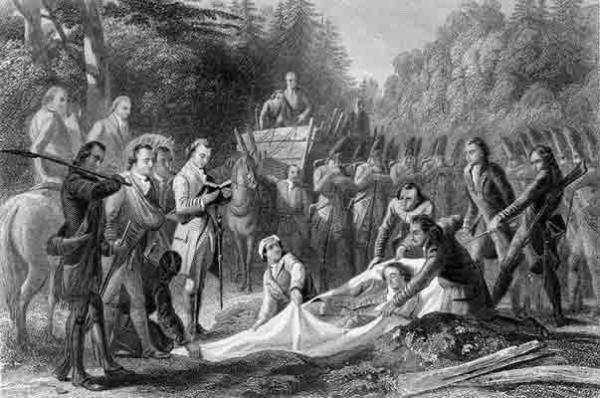 This etching depicts the burial of General Braddock, several days after he was wounded at the battle at Braddock's Crossing.