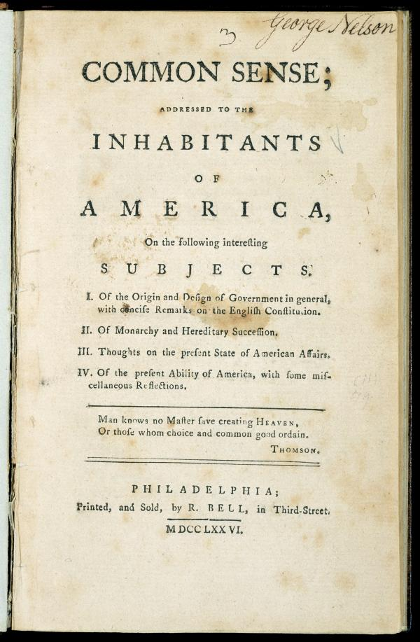 "Title page,""Common Sense"", by Thomas Paine"
