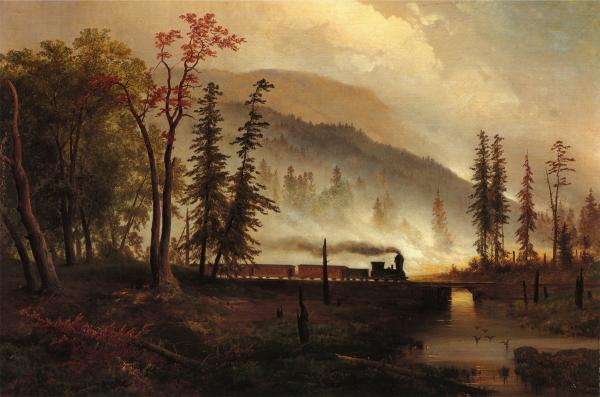 A scene on Bear Creek, with a train speeding along the tracks amid a woods on fire.