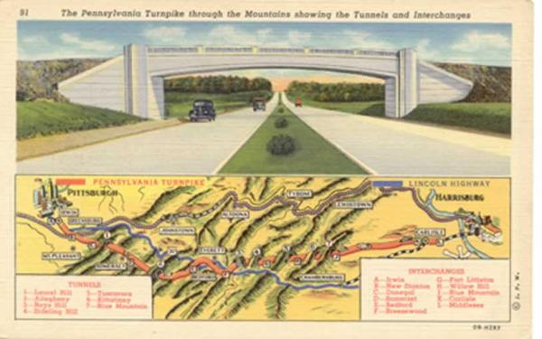 Map of the SPRR line, Pennsylvania Turnpike, Map 1940 postcard Cupper