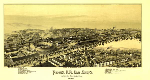 An 1895 bird's-eye-view shows the immense Pennsylvania Railroad Shops in Altoona, Pennsylvania.