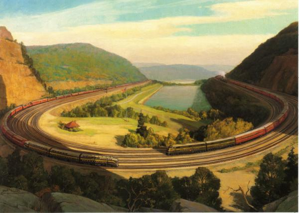 <i>The Horseshoe Curve</i>, by Grif Teller Oil on canvas of the entire expanse of the curve, providing a bird's eye view. Image includes three trains traveling around the four-track curve.  It is summer and the mountains are lush and green.