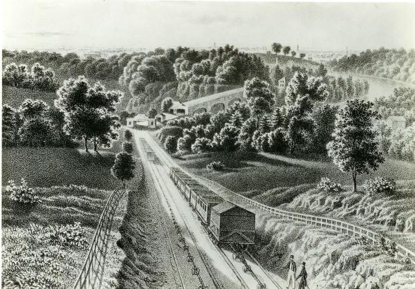Lithograph of the Belmont Inclined Plane.