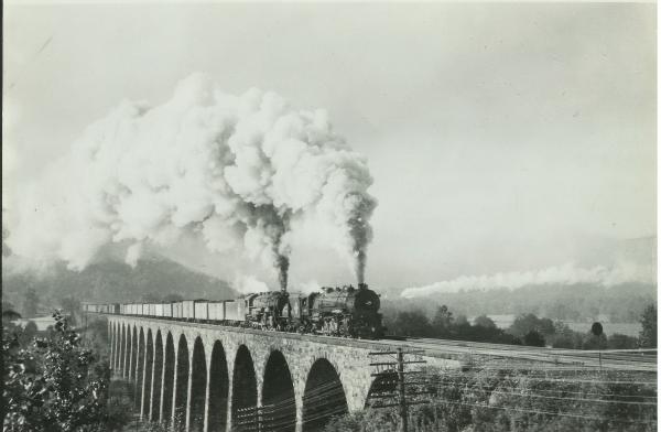 Starrucca and Locomotive belching steam