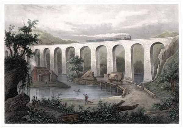 Color lithograph  Starrucca Viaduct, Erie Railroad, over Starucca Creek, Lanesboro, Pa.