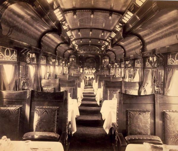 A photograph by William Rau of the Interior of dining car, 1891