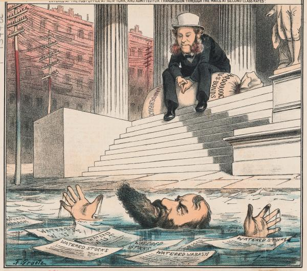 Editorial cartoon, Gould drowning in sea of watered stock, Vanderbilt on steps.