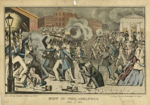 Riot in Philadelphia, July 7, 1844. Lithograph by James Baillie and J. Sowle after Buchholtzer, New York.