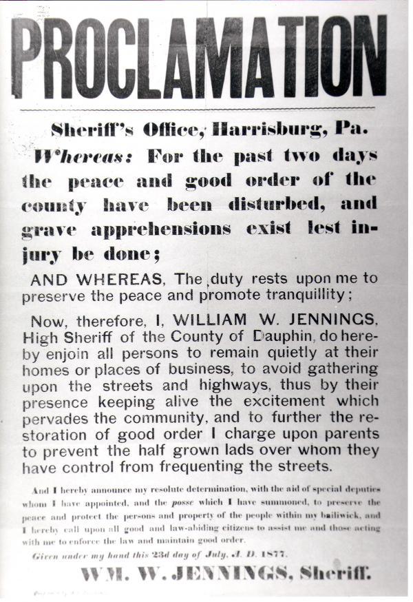 Proclamation RR Strike, Harrisburg