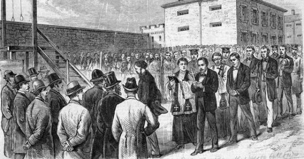 <i>THE MARCH TO DEATH</i>, depicting Molly Maguire members on the way to the gallows in Pottsville, Pa.