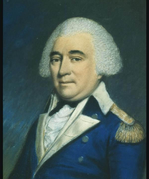 Pastel on paper of Anthony Wayne, head and shoulders, in military uniform.