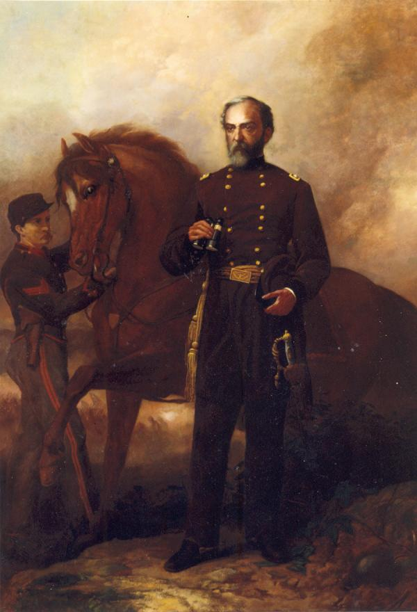 <i>Meade at Gettysburg</i>, by Daniel Ridgeway Knight. Oil on canvas portrait of George Meade in uniform, standing next to his horse. A soldier holds the reins of the General's horse.