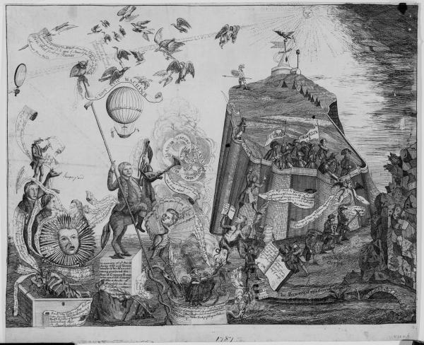 "This political cartoon is allegorical, full of birds, snakes, animals, and people depicted as animals. Detail of a proposed attack on the Pennsylvania Constitution, pictured as a fort with figures hoisting telescopes, peering down from the fortress. A satyr lifts a figure with the face of Hamilton. The accompanying text, ""Follow me up boys, I will be governor. This constitution is too democratic. The people are not virtuous enough to enjoy such liberty. We are the Gentleman's party and will keep down those Plae-beans."""