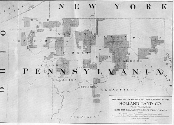 This map depicts the location of land purchased by the Holland Land company