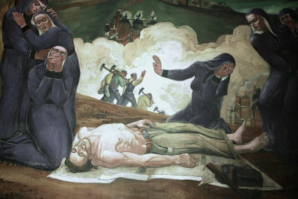 Mural depicting a scene of secular grief caused by a mining accident in the Johnstown area in which a family lost four sons.