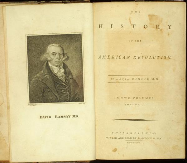 Engraving and title page, frontpiece of <i>The History of the American Revolution</i> by David Ramsay, 1789.