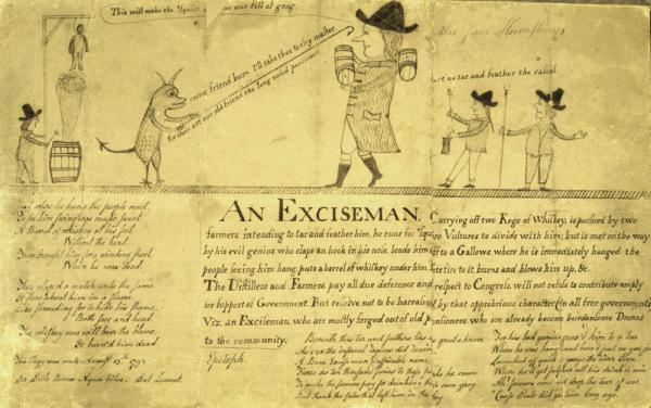 Cartoon depicting the fate of the Exciseman. An Exciseman carrying off two kegs of whiskey is being pursued by two farmers intending to tar and feather him. He is later hung.