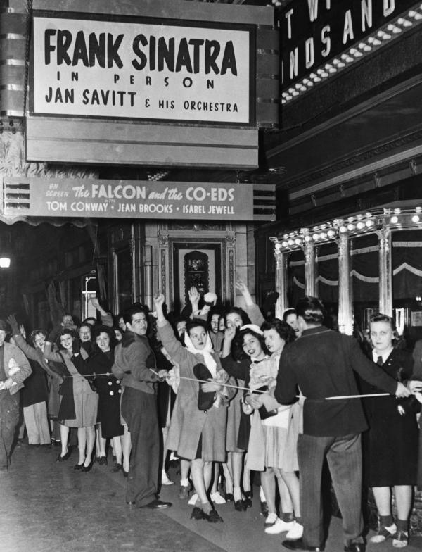 Frank Sinatra Fans Waiting Outside Theater.