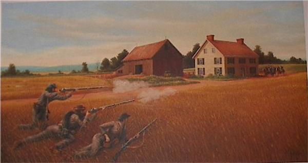 Oil on canvas of soldiers firing from a field ajacent to a farm house.