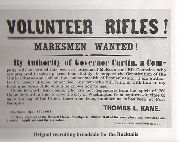 Marksmen Wanted Bucktail recruiting broadside.