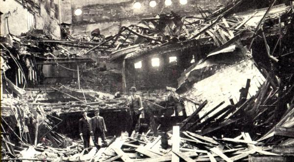 Photo of Historic Mishler Theater after the fire.