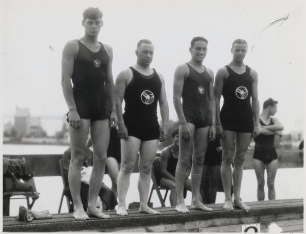 Johnny Weismuller with Swimming Teammates.