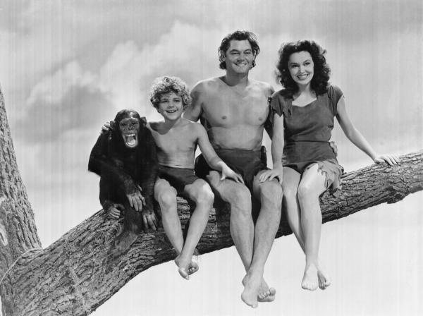 Johnny Weismuller and Maureen O'Sullivan in Tarzan Movie, with Boy and Cheeta.