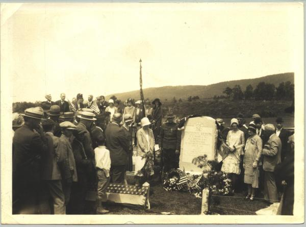 Dedication of the monument that marks the graves of the two Confederate soldiers killed on June 29, 1863. The ceremony was held in 1929.