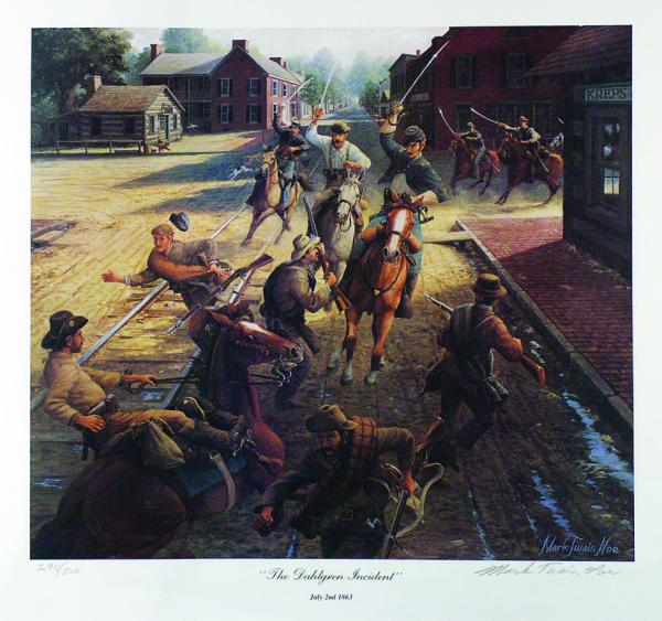 In The Dahlgren Incident, oil painter Mark Twain Noe depicts Dahlgren's saber charge through the streets of Greencastle, Pennsylvania, on July 2, 1863.