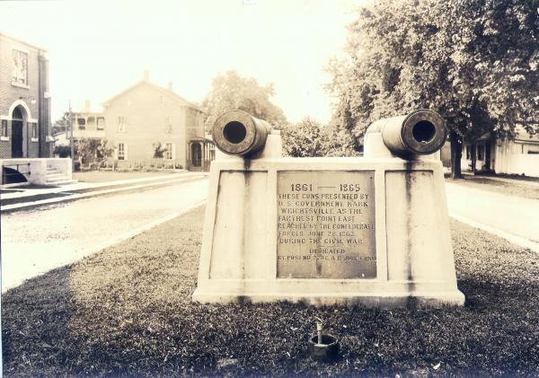 Photograph of Farthest point Monument Civil War cannons.