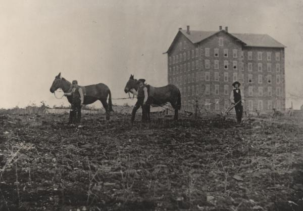 Old Main 1859 Black and white image of two mules, three students, and the school in the background.