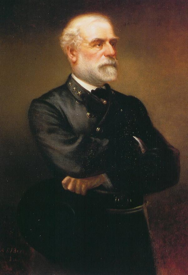 Oil on canvas of General Robert E. Lee. Portrait with arms folded.