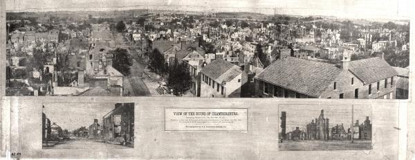 Panoramic view of the Chambersburg Ruins.