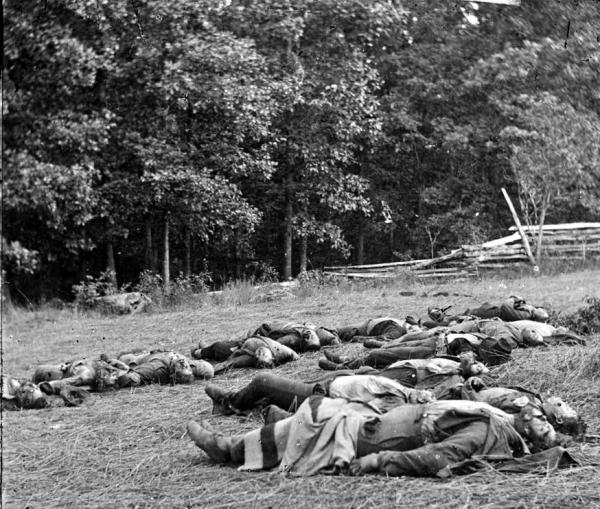 Grisly photograph of dead soldiers.