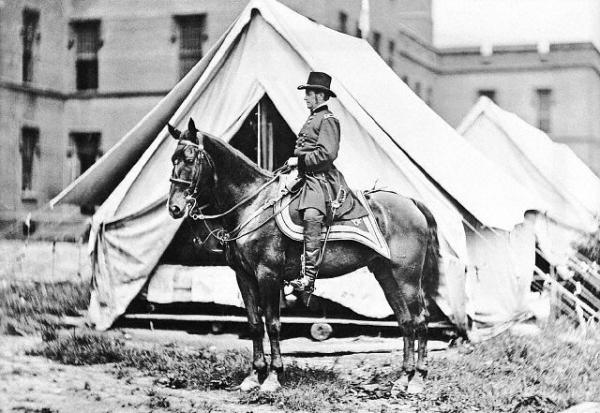 Photograph of Joe Hooker on horseback.