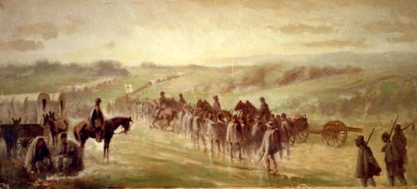 Watercolor of Lee's retreat, by Edwin Forbes. Pursuit of Lee's army. Scene on the road near Emmitsburg of a long column of troops marching.