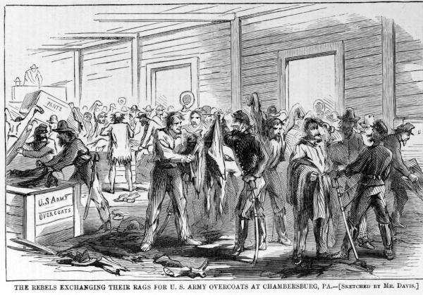 The Rebels exchanging their rags for overcoats at Chambersburg, Pa.