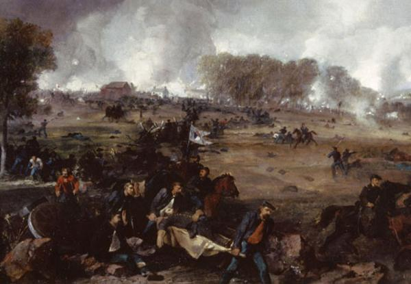 Detail of Peter Frederick Rothermel's <i>The Death of General Reynolds.</i> The first day's fighting at Gettysburg.  Painting detail of Soldiers carrying a stretcher with the body of Union General John Reynolds.