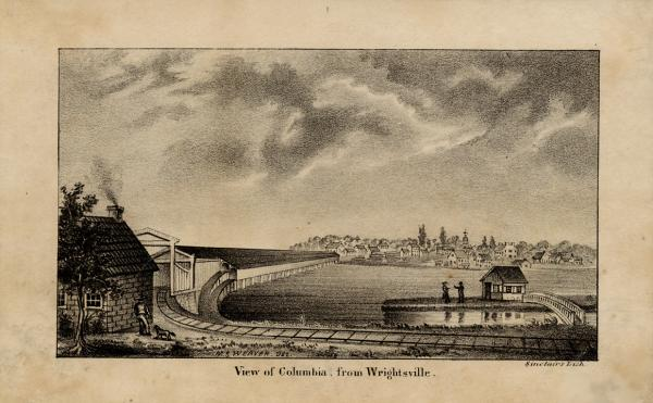 Photograph of prewar bridge, showing a view of Columbia from Wrightsville.