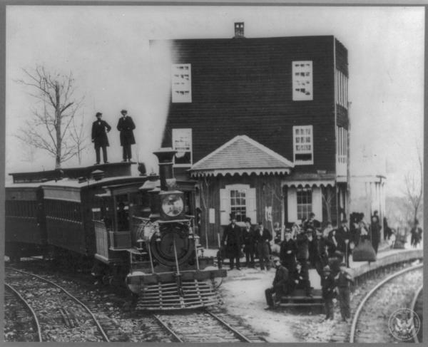 Arrival of official train at Hanover Junction. Man in top hat believed to be President Lincoln.