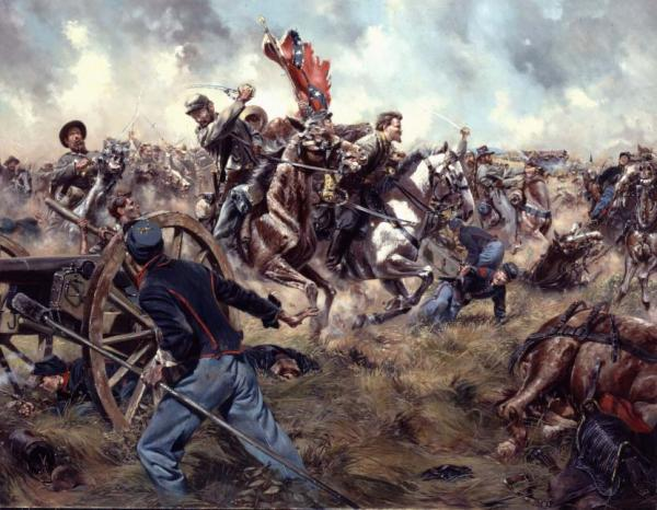"""The """"Gray Comanches"""" painting depicts Confederate Colonel Elijah White leading the 35th Battalion  Virginia Cavalry into the center of the battle."""