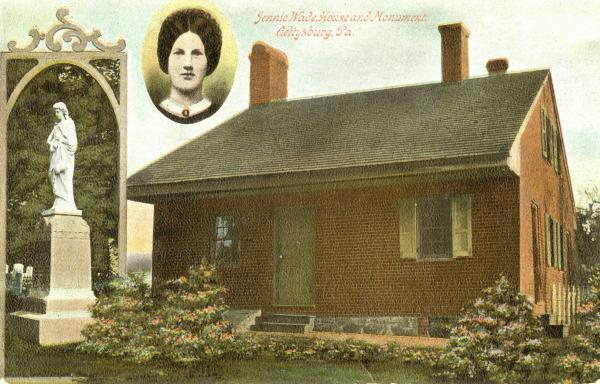 Postcard of Virginia Wade, her home, and monument.